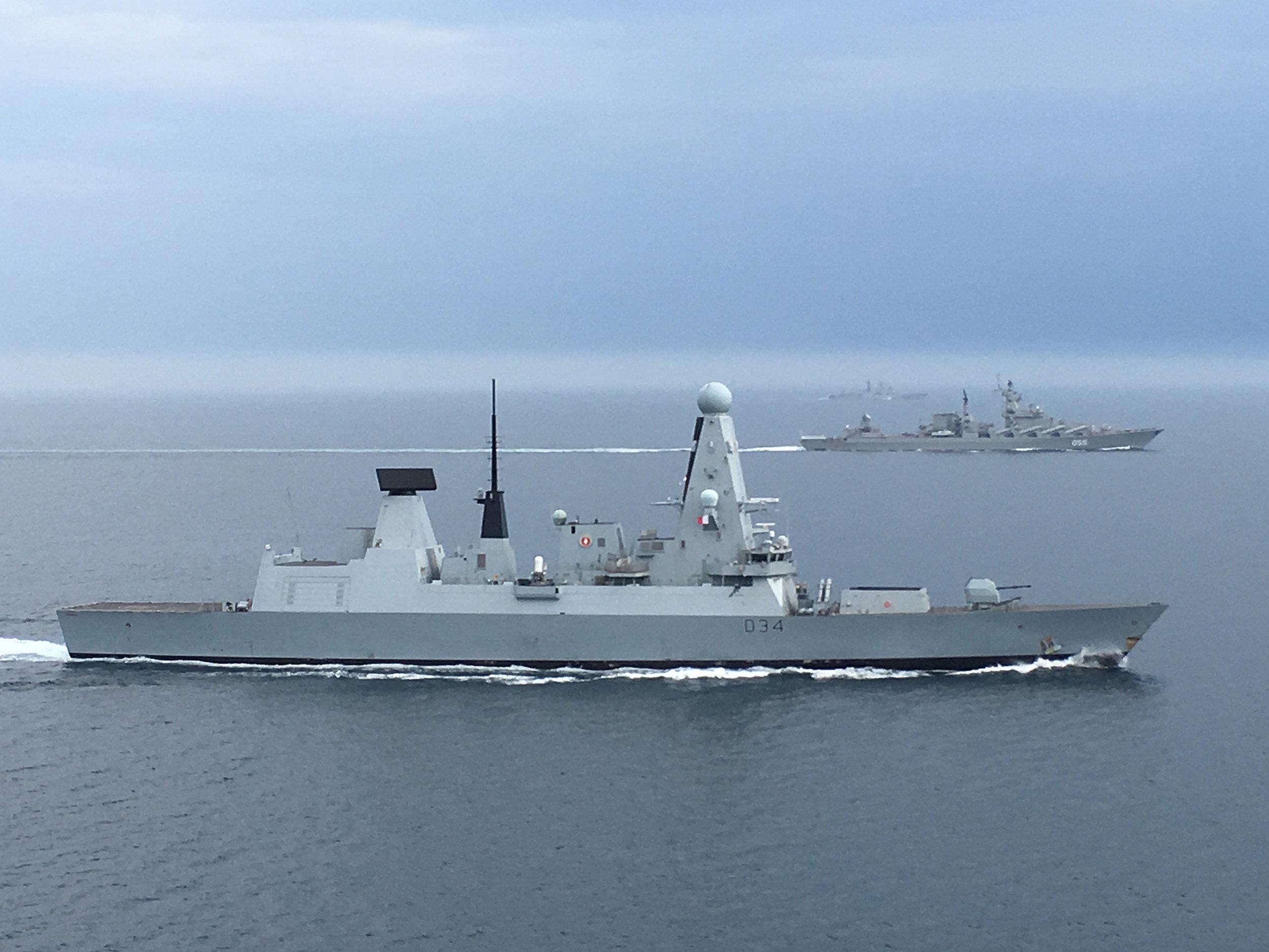 Portsmouth-based HMS Diamond Monitors Russian Warships