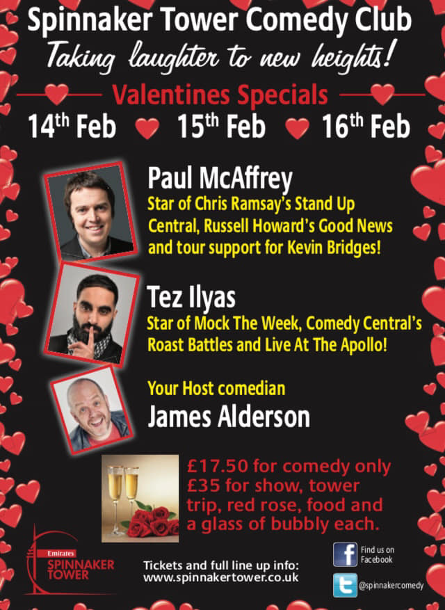 valentines comedy at spinnaker tower portsmouth