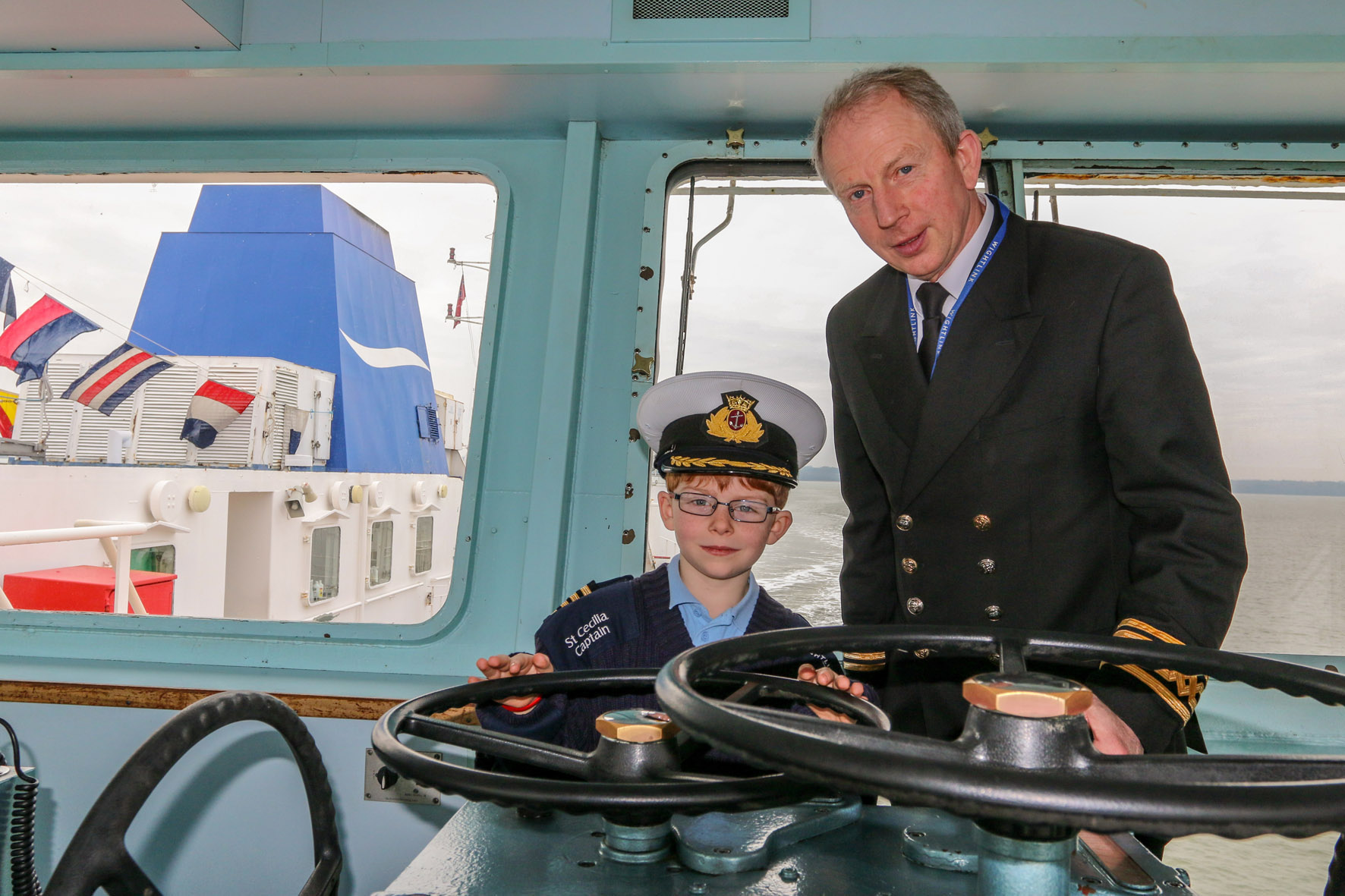 Captain Jim Blanch and Ellis Yeats on the Bridge of St Cecilia