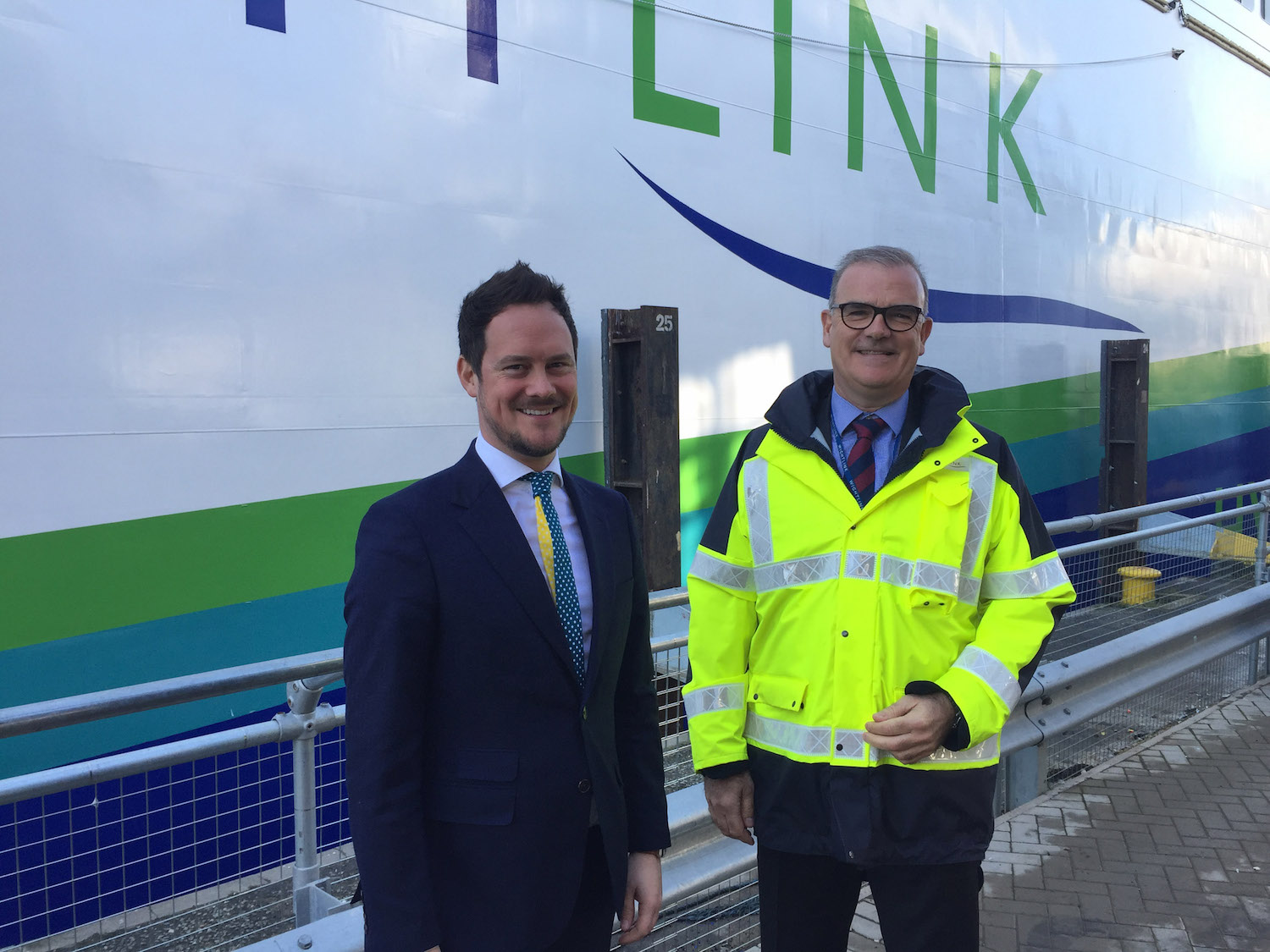 Stephen Morgan MP with Wightlink CEO Keith Greenfield