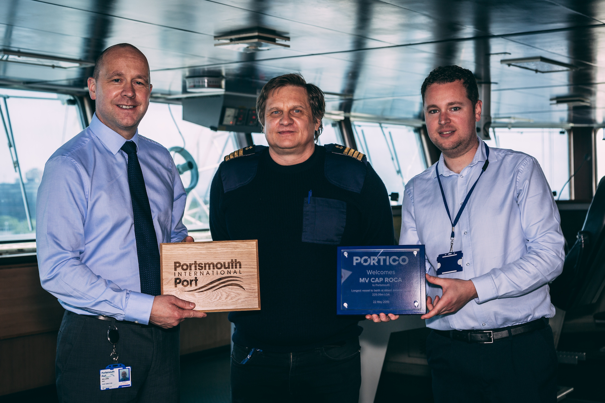 From left to right: Port director, Mike Sellers; Captain of the MV Cap Roca, Przemyslaw Dominiak; and Operations Planning Manager at Portico, David Pennery.