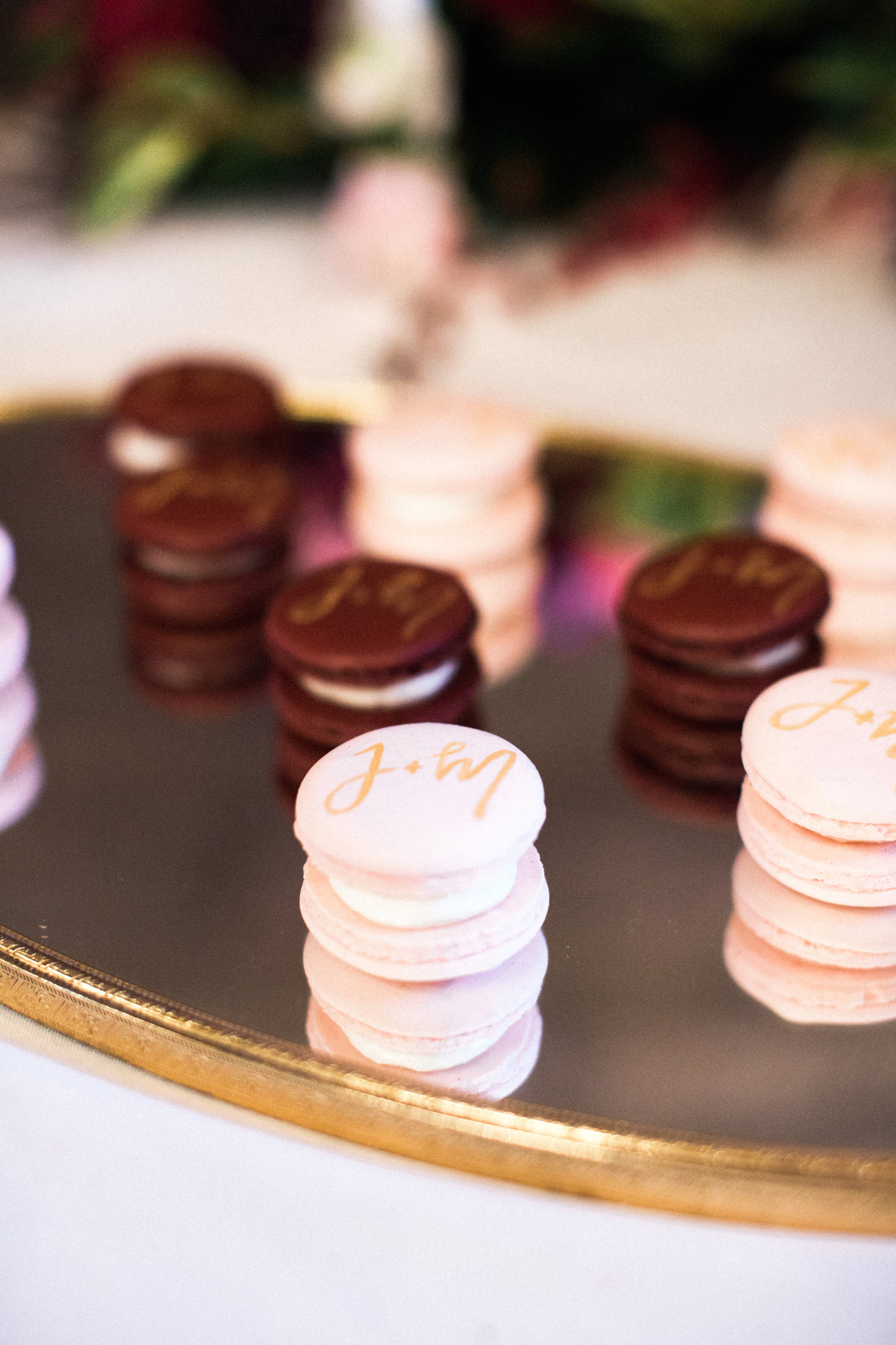 Photo courtesy of  Laura and Rachel  | Calligraphy:  Crafted by Anamarie  | Macarons:  Antoinette Boulangerie
