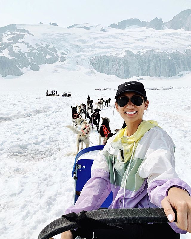Made some new fur friends dog sledding on the top of Mendenhall Glacier. 🐶 Don't tell @mydoodbenji ! 🤐