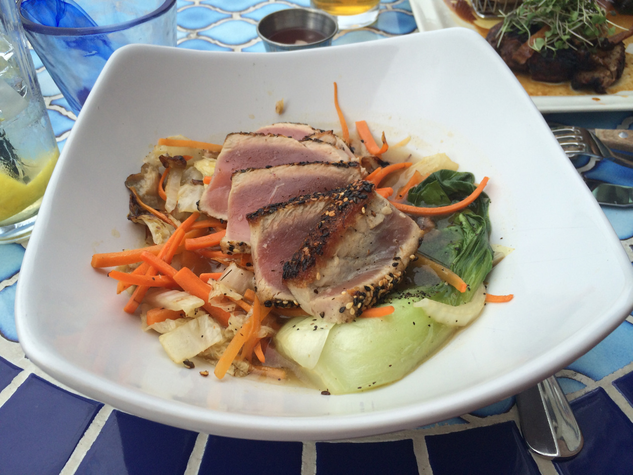 Seared tuna over bok choy and Miso broth at The Wharf.