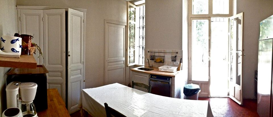the shared kitchen.