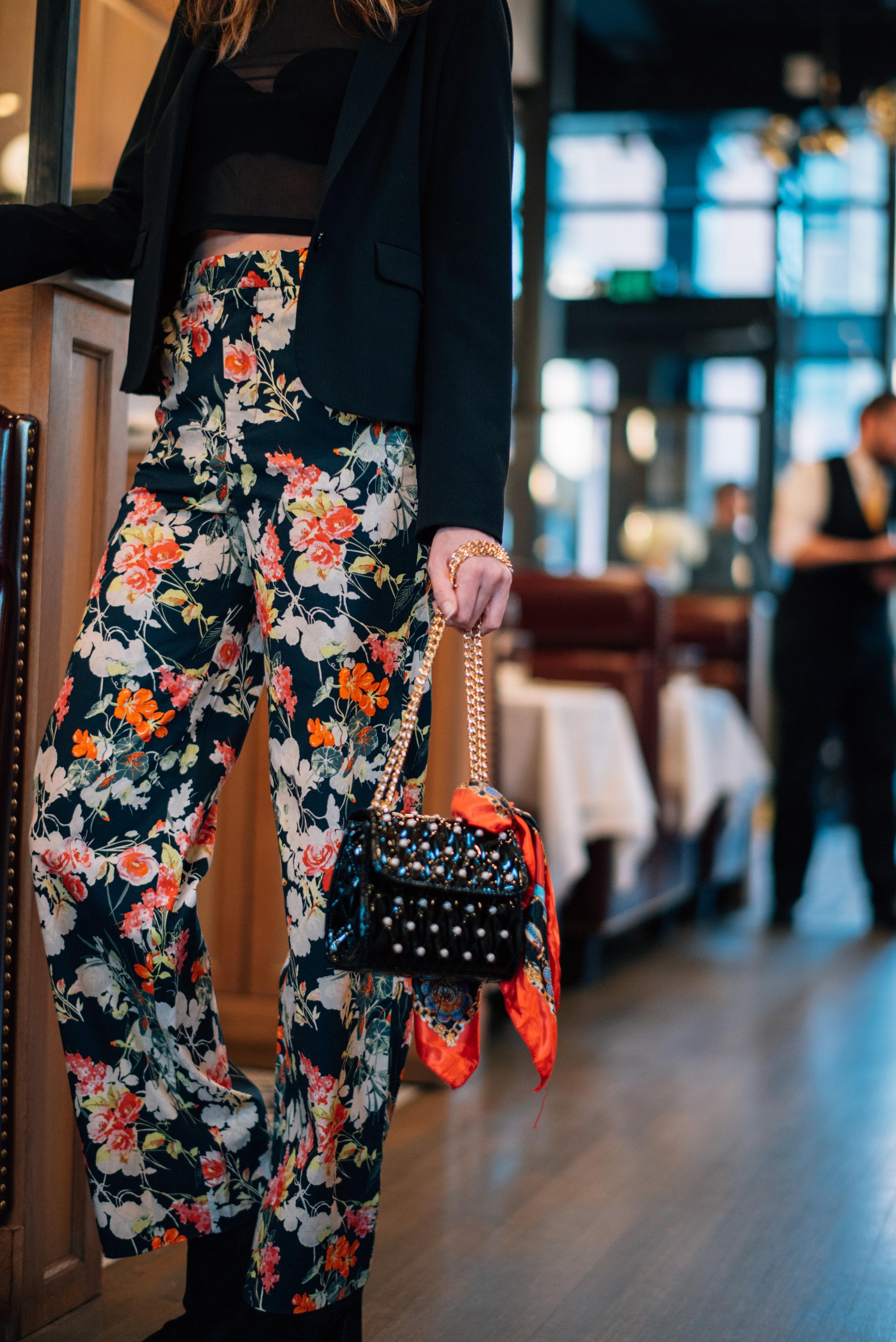floral pant evening wear