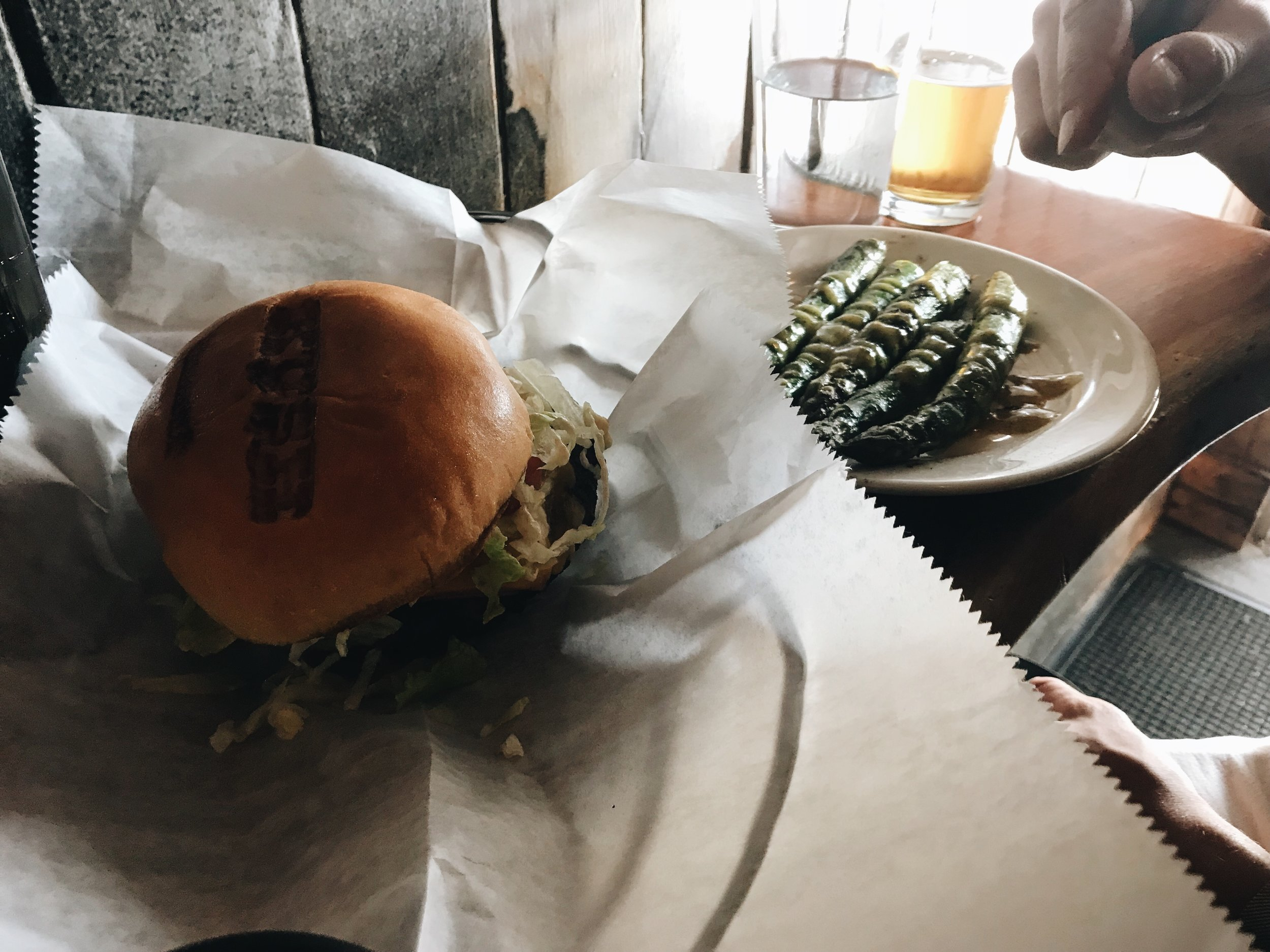 the Johnny Utah burger with a side of asparagus.