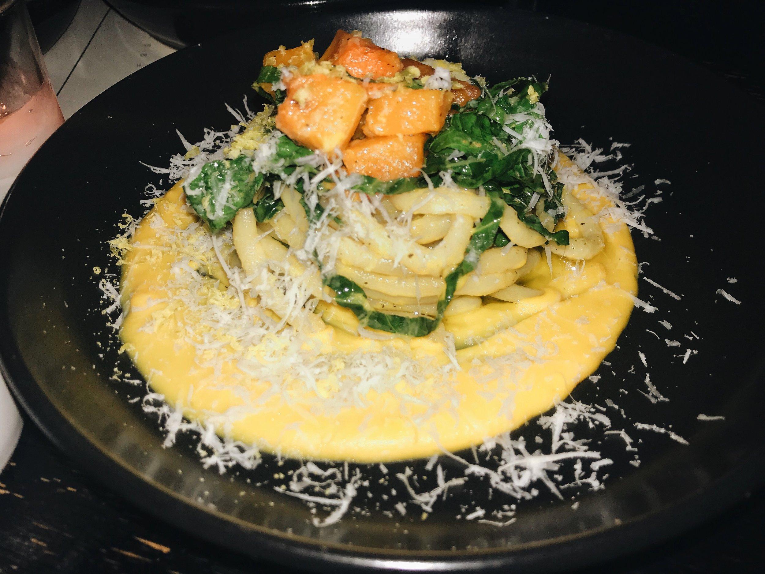 the pici pasta, butternut squash, pecorino pepato.