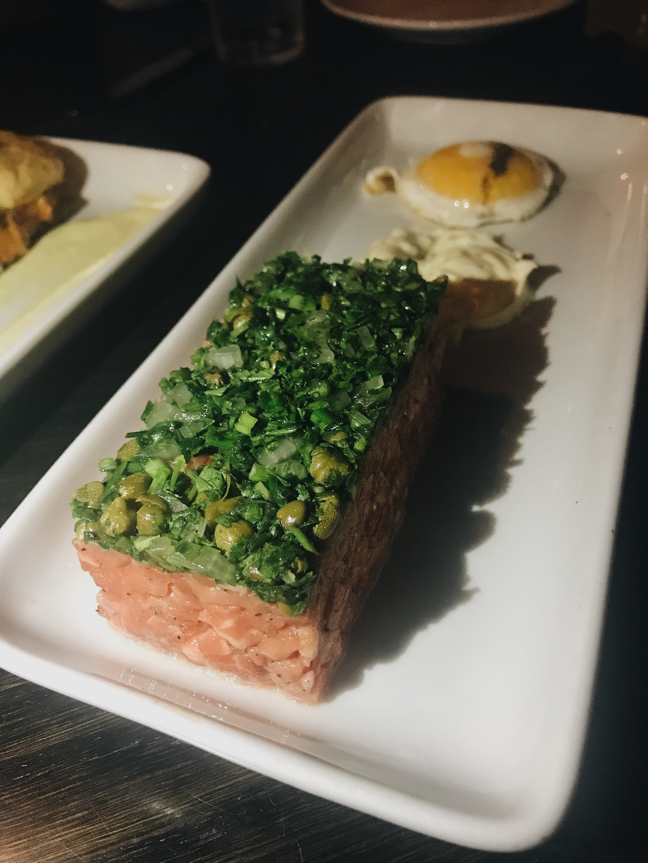the beautiful presentation of beef tartar.