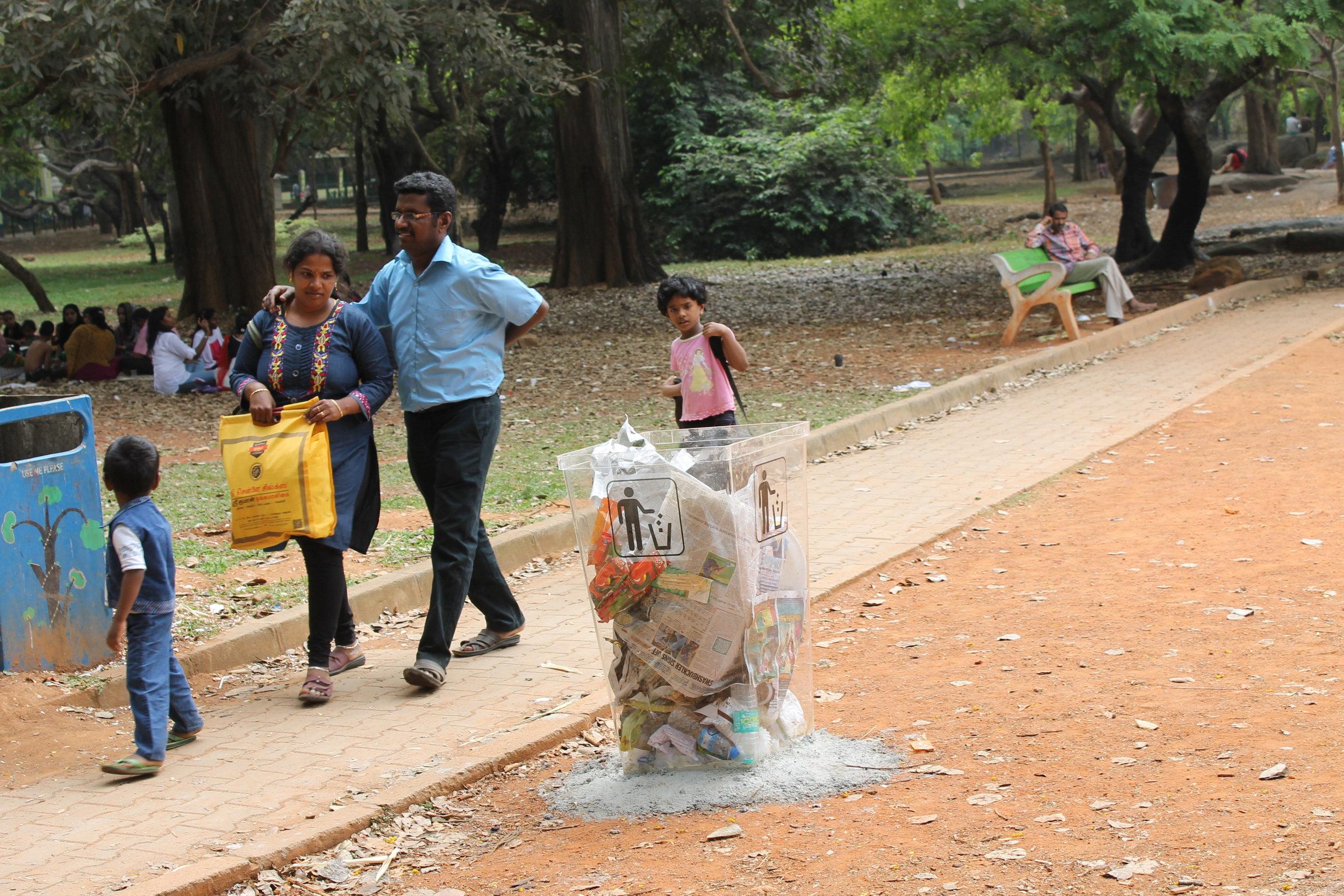 Cubbon park-transparent dustbin by Natasha Sharma