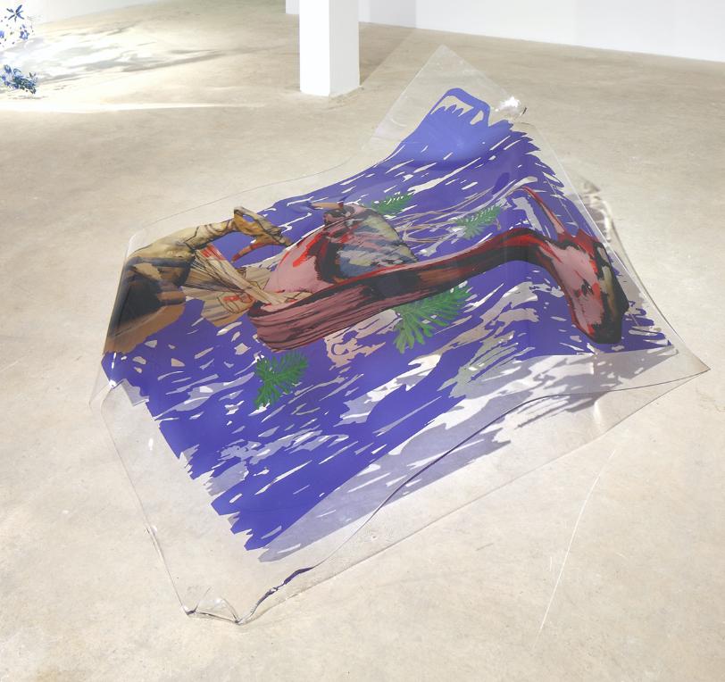 Rachel Rossin    Spray Bottle for a Big Red Dog  UV print on plexiglass 60 x 66 x 24 in (152.4 x 167.6 x 61 cm)