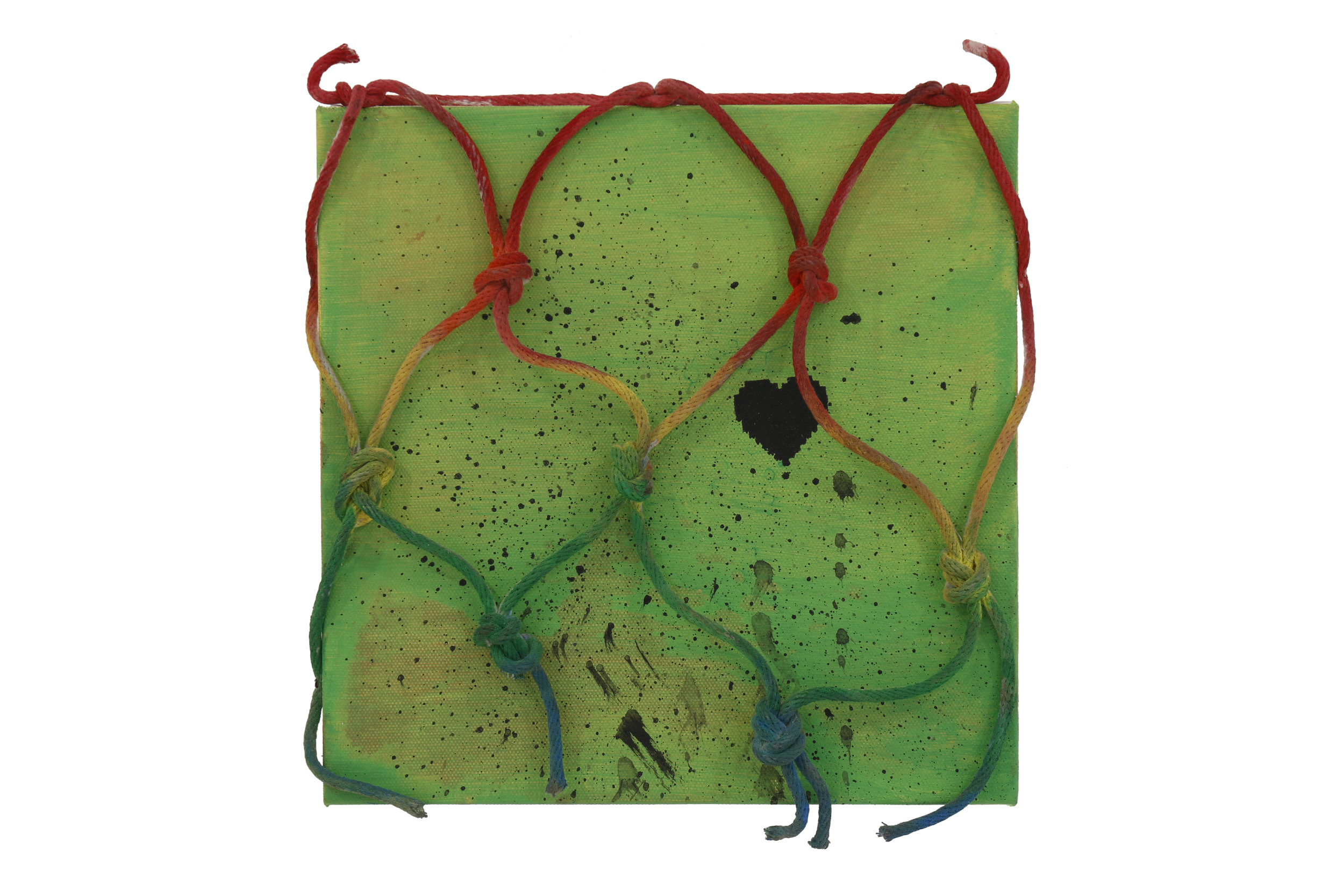 Wendy White    Provincetown (Green Heart)   Acrylic on canvas, rope, Provincetown sea water  10 x 10 in (25.4 x 25.4 cm)