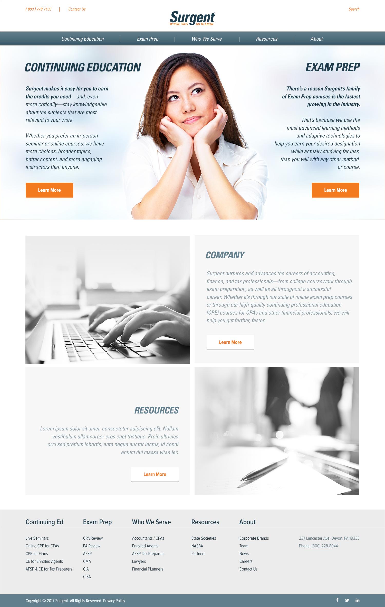 Surgent.com's redesigned homepage.