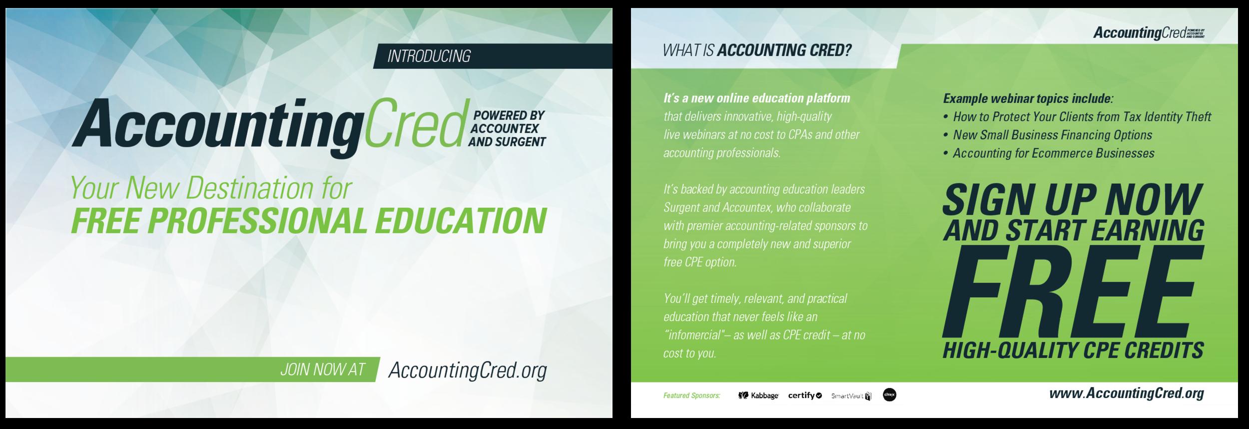 AccountingCred's postcard design.