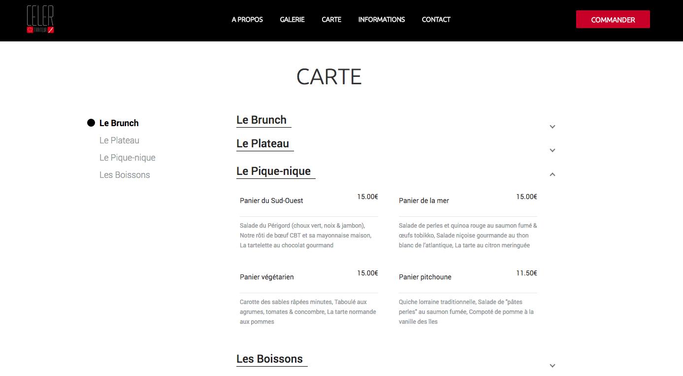 Exemple de menu du restaurant  Celer.
