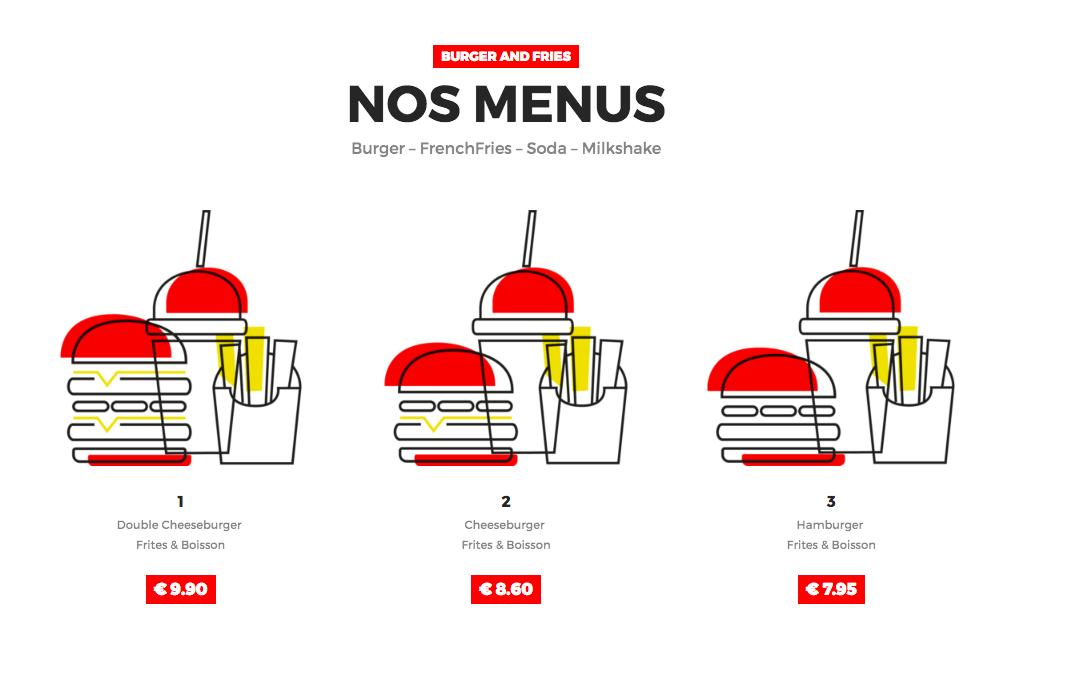 Exemple de menu du restaurant Burger & Fries.