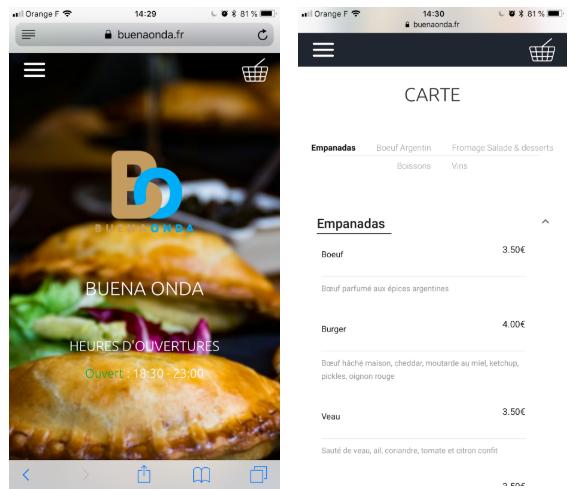 Exemple du restaurant Buena Onda sur mobile. La carte, galerie et informations principales s'adaptent parfaitement à une navigation sur mobile.
