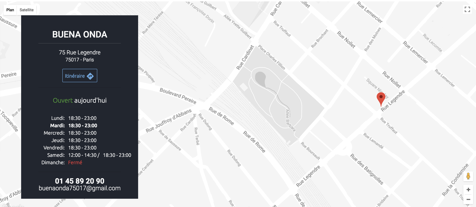 """Exemple du restaurant Buena Onda. On aime le bouton """"Itinéraire"""" qui renvoie directement vers Google Maps"""