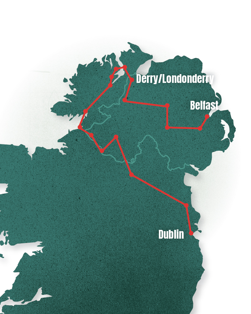 Belfast to Dublin - Setting off from Belfast to Derry/Londonderry, then on to Donegal before turning back and heading east towards Dublin, I explore how on the island of Ireland claiming to be European or not, has become a political declaration.