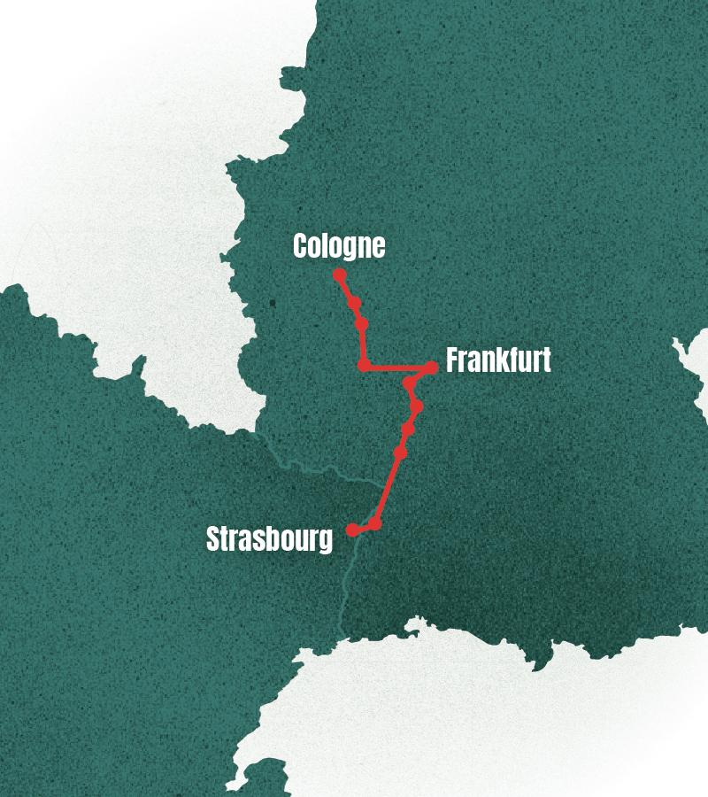 Strasbourg to Cologne - Strasbourg, Kehl, Rastet, Speyer, Worms Wienheim, Nierstein, Frankfurt then along the Rhine again towards Bacharach, Koblenz, Bonn and Cologne,