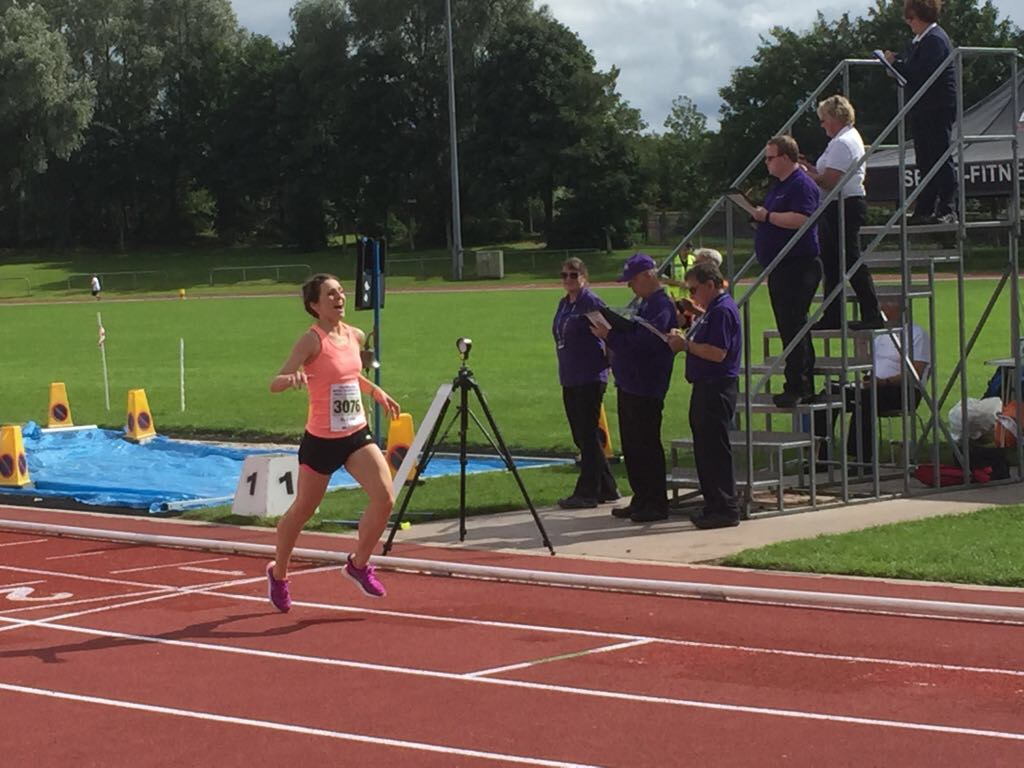 Winning the 800m at the British Transplant Games, 5.5 months after surgery.