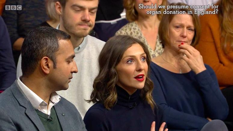 Ellie Lacey, BBC The Big Questions, Organ Donation