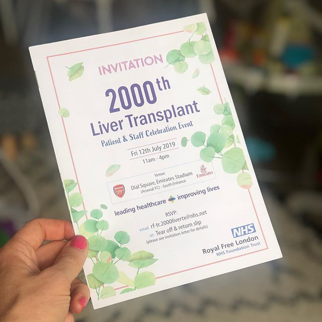 Even more amazing stuff arriving in the post today! An invitation to celebrate 2000 liver transplants performed at the astounding @royalfreelondonnhs . What a wonderful way to acknowledge the dedication from all the staff, the progress in all the science, the life in all the transplantees and, most of all, the kindness and love of all the donors and their families❤️❤️❤️ . Feel very humbled indeed to be a part of it. #thankyounhs #forevergrateful #kindnessofstrangers . . . . #livertransplant #transplantrecipient #lovethenhs #organdonationawareness #organdonation #yesidonate #celebrate #royalfreehospital