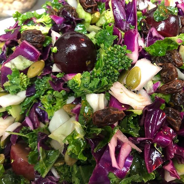 #thewestsidedeli #fall #slaw #cabbage #grapes #pumpkin seeds #broccoli #raisins #orange dressing