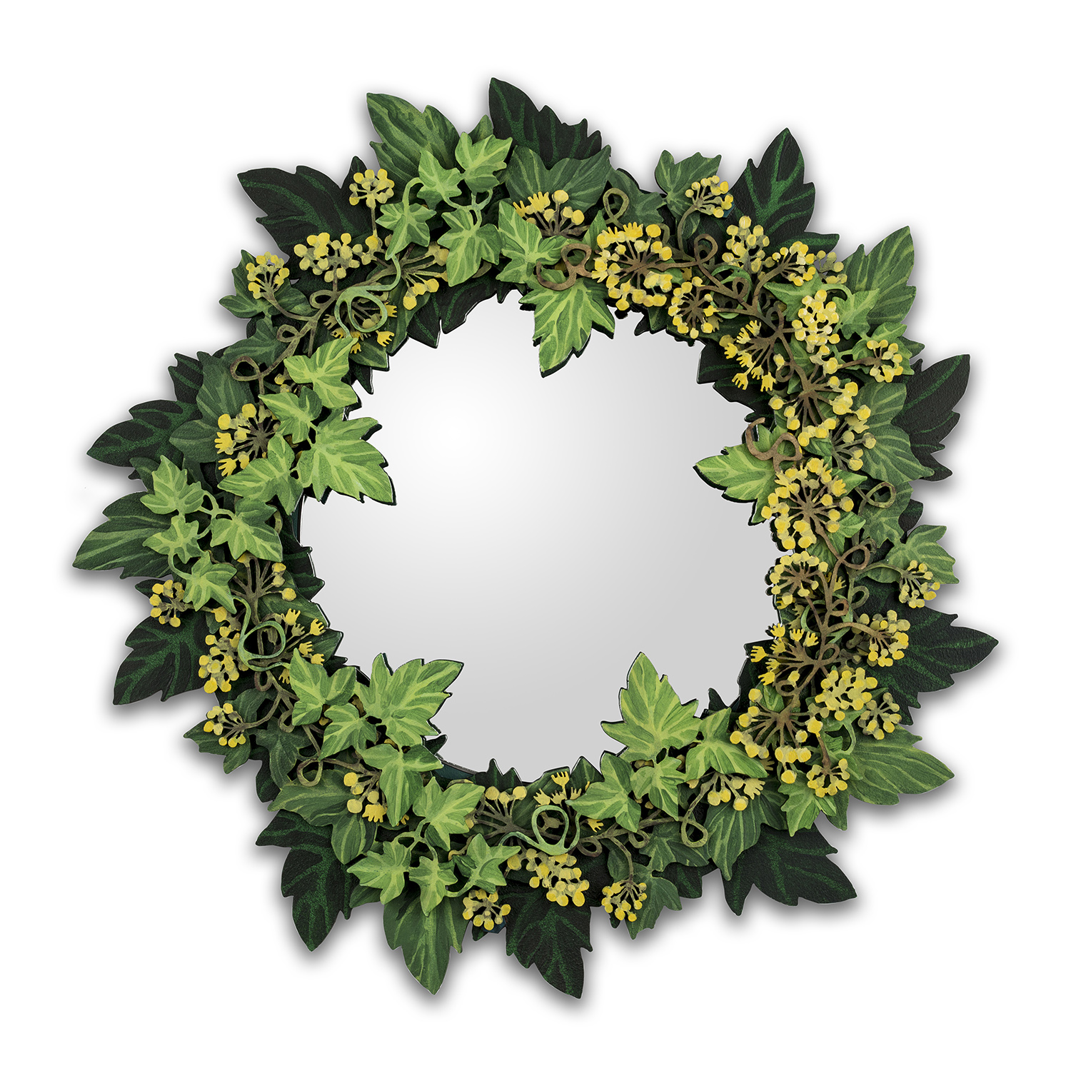 Lasercut handpainted ivy mirror 34cm x 34cm picture by Jo Hounsome