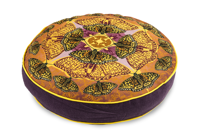 High brown Fritillay round box cushion