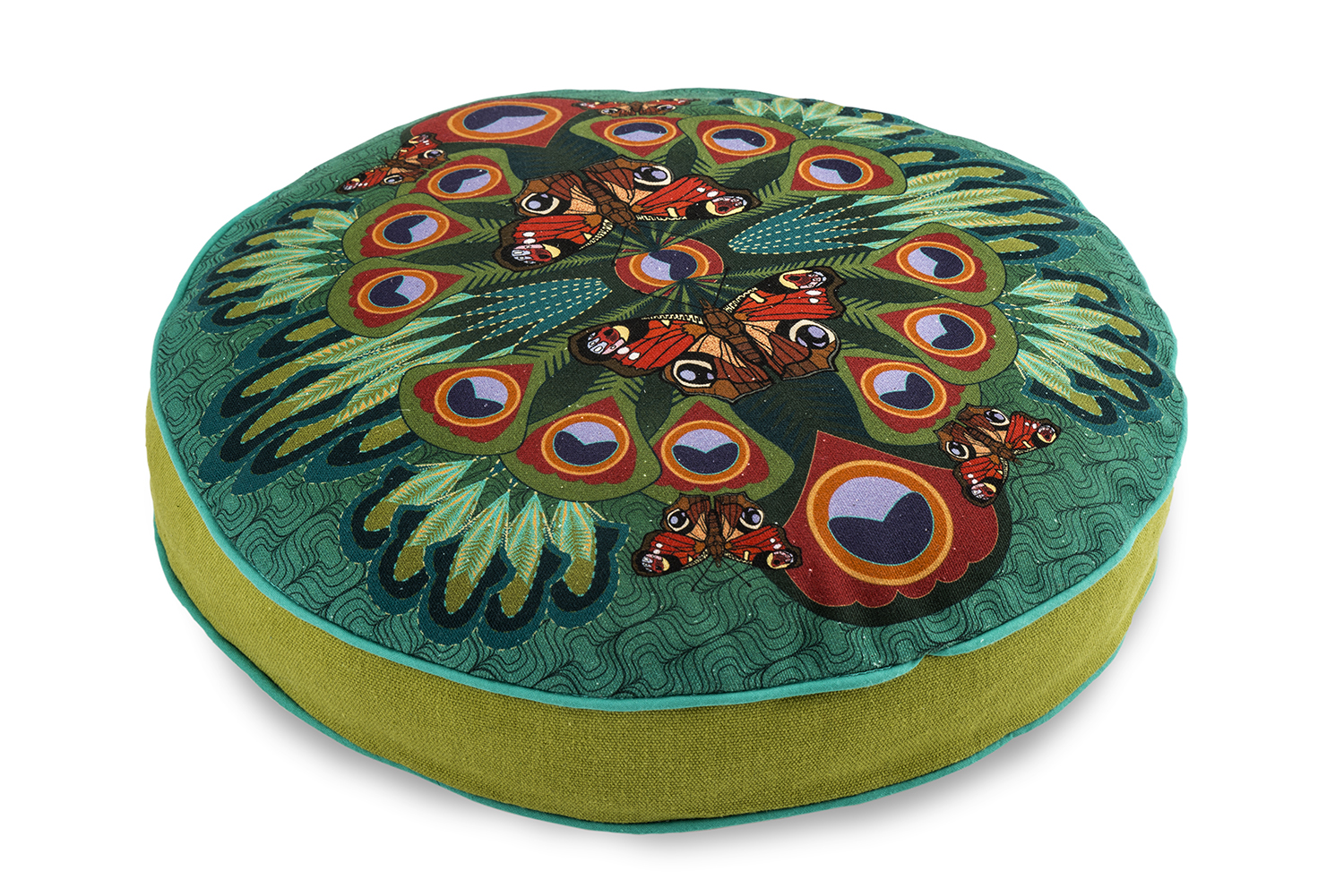Peacock butterfly round box cushion
