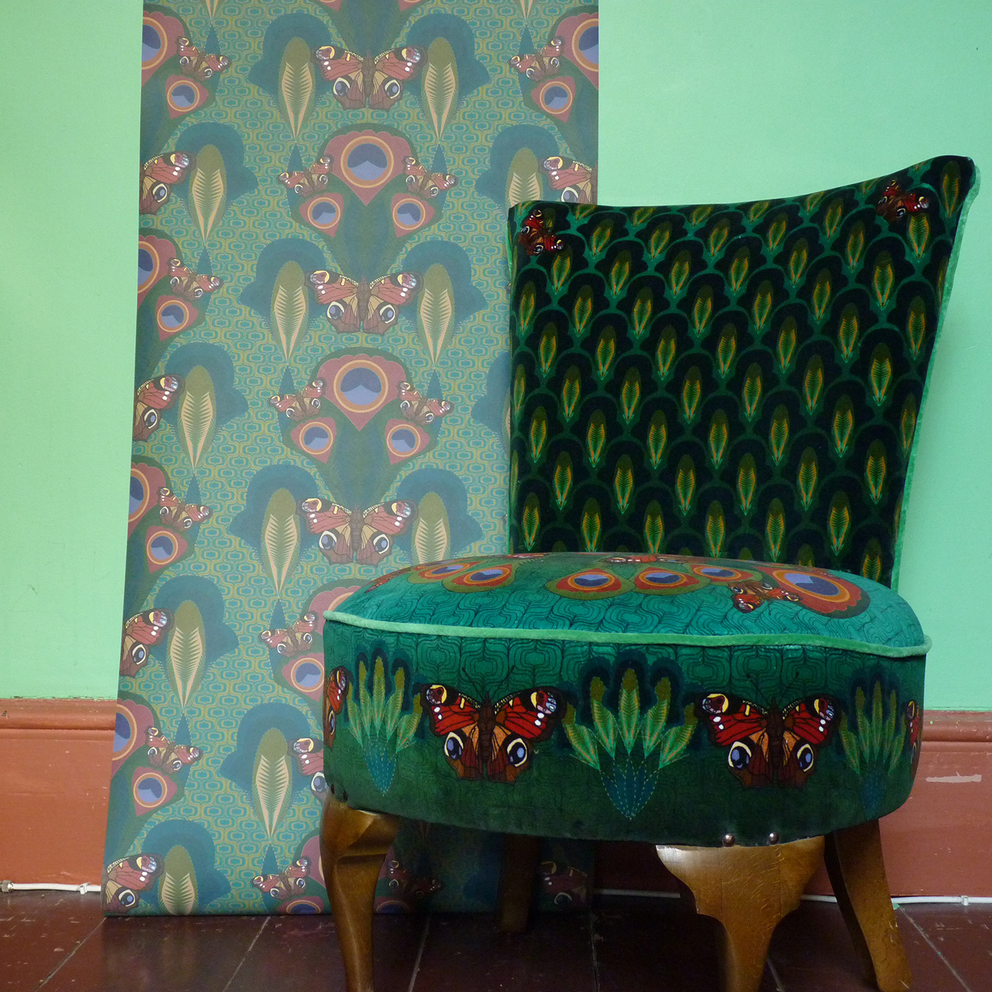 Peacock butterfly wallpaper with chair