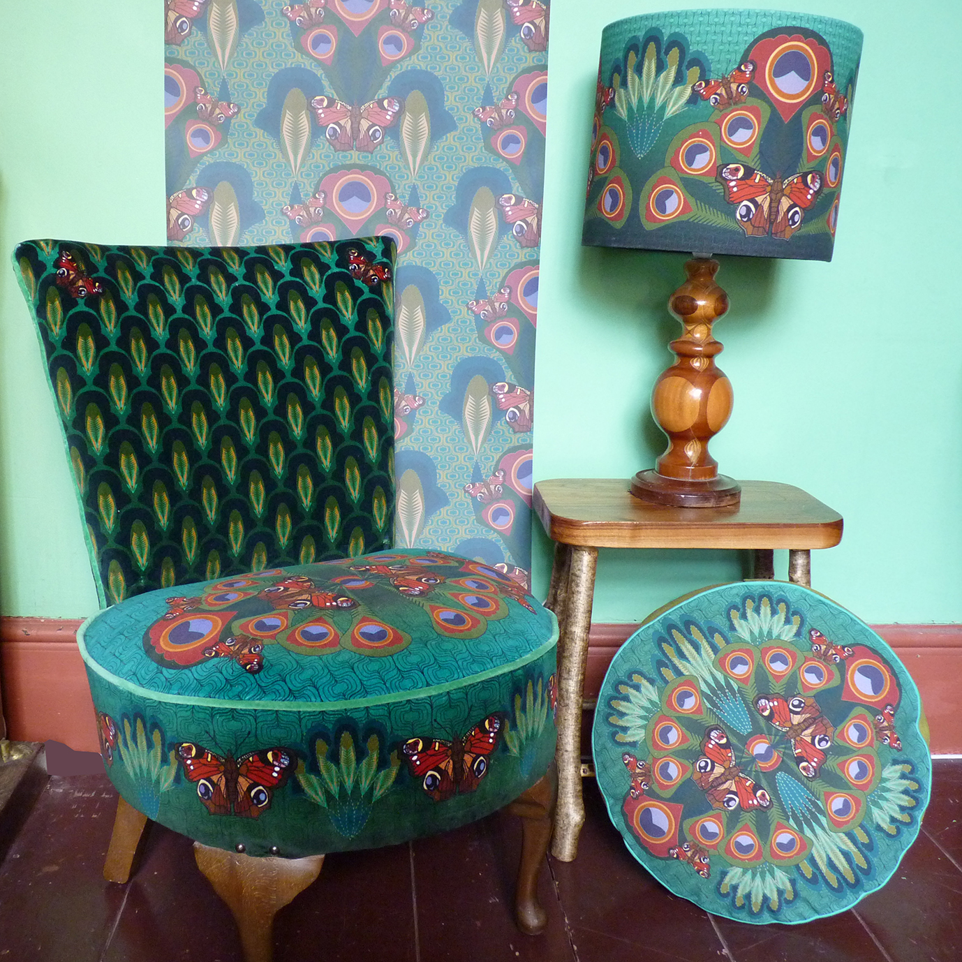 Peacock butterfly wallpaper, chair , lampshade and round box cushion
