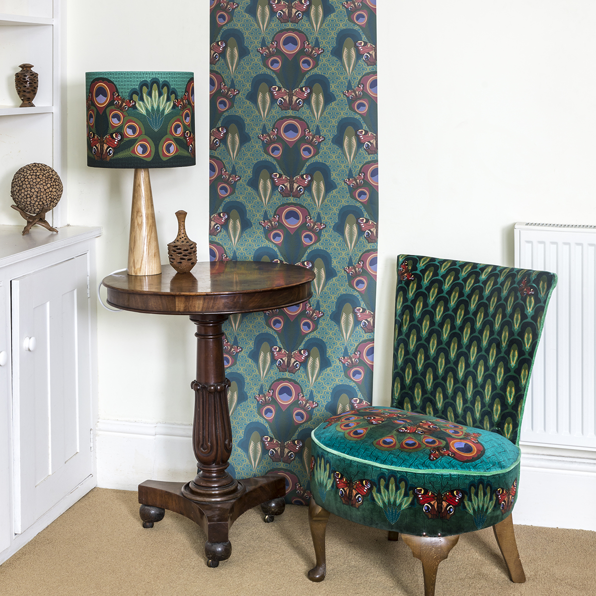 peacock butterfly wallpaper and chair .jpg