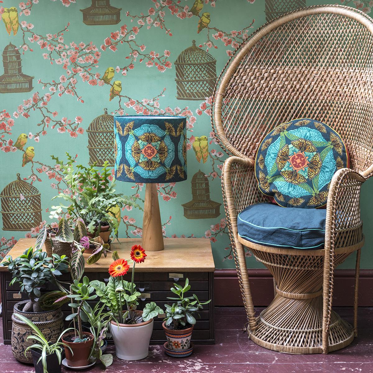 teal high brown fritillary box cushion and lamp panama lifestyle.jpg