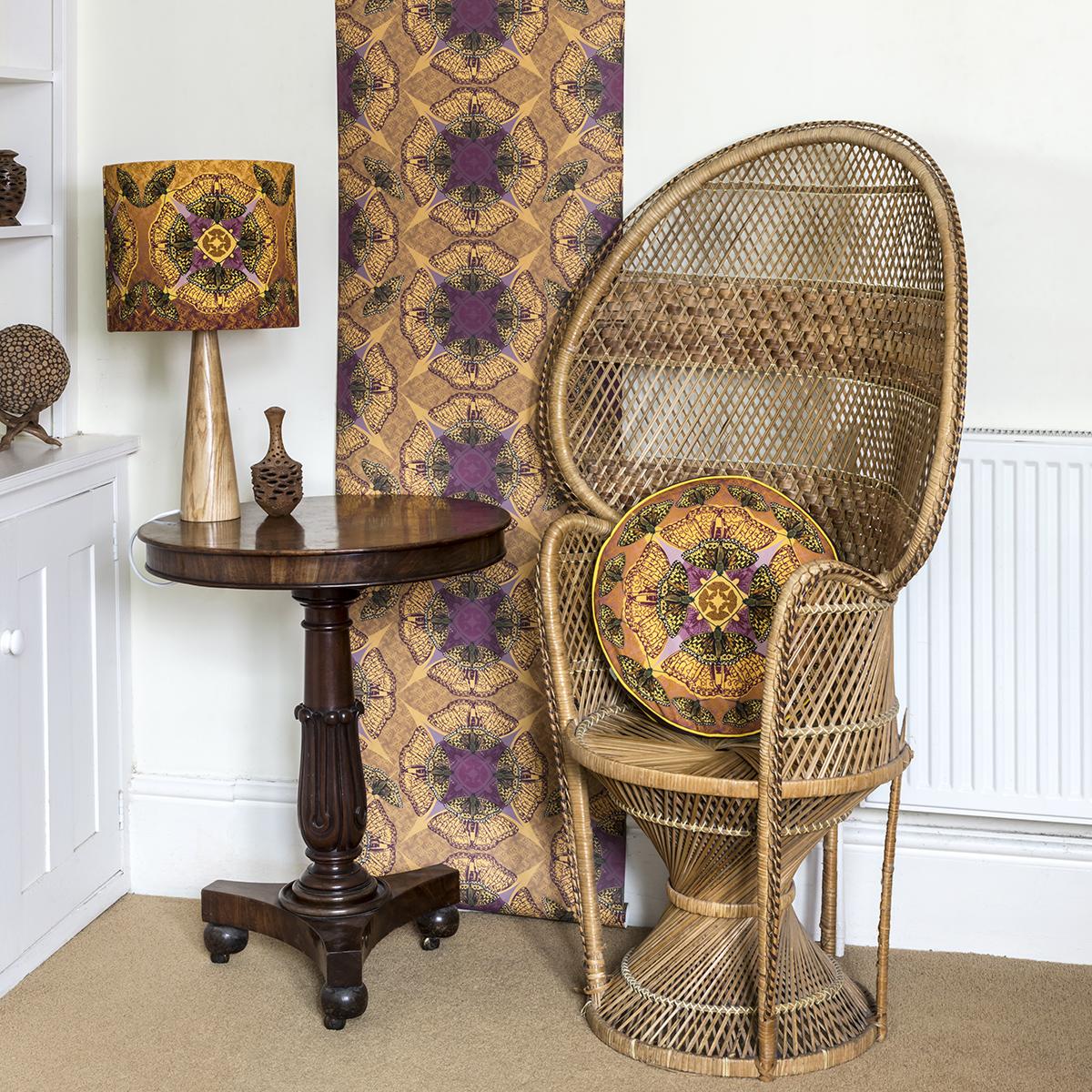 high brown fritillary wallpaper and panama lamp and box cushion lifestyle.jpg