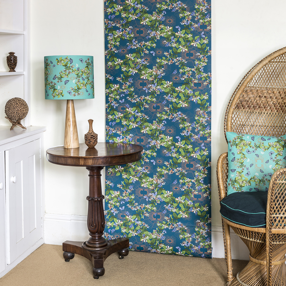 blue butteflt turq + teal wallpaper cushion and lamp panama lifestyle.jpg