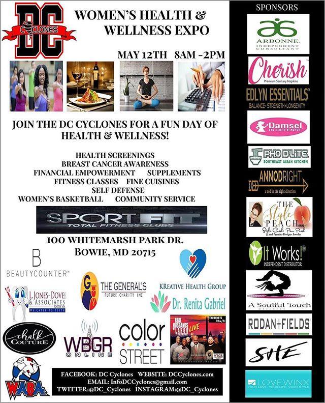 Come on out and show your support while getting tips and resources to get your health and wellness on!  WOMEN'S HEALTH & WELLNESS EXPO powered by @dc_cyclones  Come for the event and stay for the exhibition game.  See you there! #healthandwellness #expo #tayfpodcast #womensbasketball