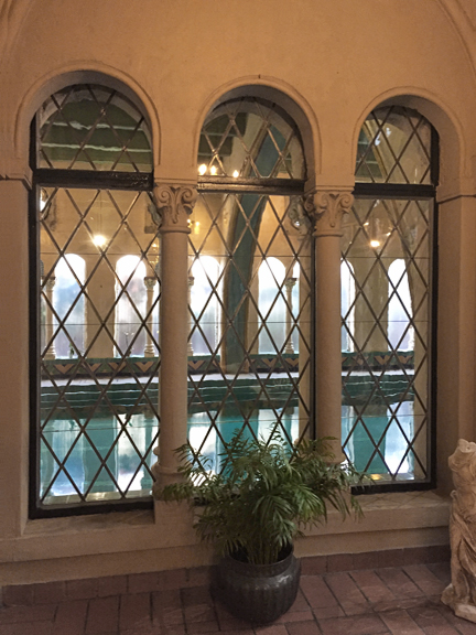 The leaded glass windows as designed by Julia Morgan