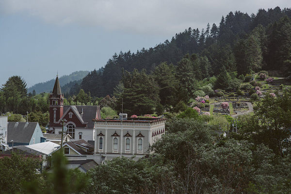 Hillside View of the Victorian Village of Ferndale CA