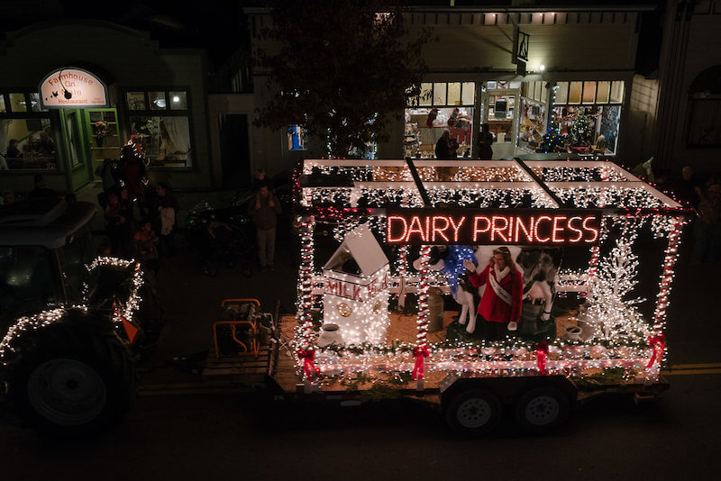 Dairy Princess at Christmas Lighted Tractor Parade in Ferndale CA.jpeg