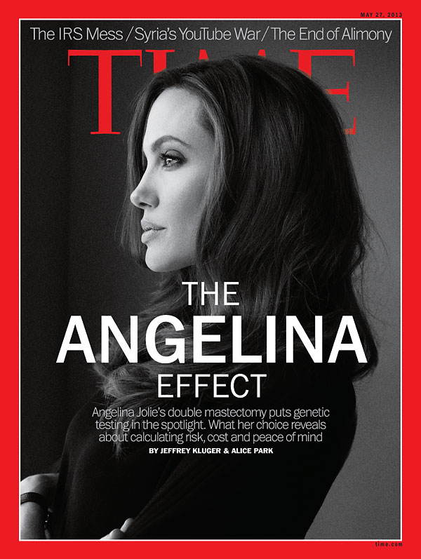 Angelina jolie - Academy Award winning actor, filmmaker, and humanitarian, is also a carrier of a deleterious mutation in the BRCA1 gene. In May 2013, she shared her very personal story about risk reducing bilateral mastectomy and reconstruction, in an effort to raise awareness. *photo by Melodie McDaniel/Trunk Archive