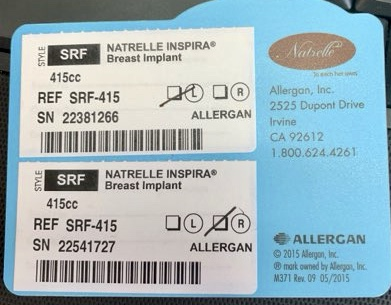 Here is an example of an implant info card. The style here is SRF: Smooth Inspira Full projection. This implant was NOT recalled.