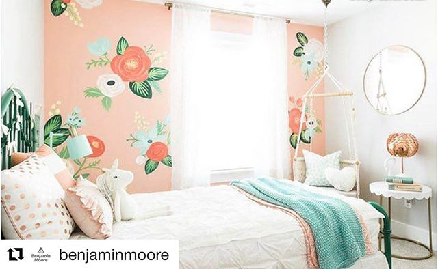 #Repost from @benjaminmoore! Springtime Peach 2914-50 helps create a space that appeals to all ages, and promotes creativity
