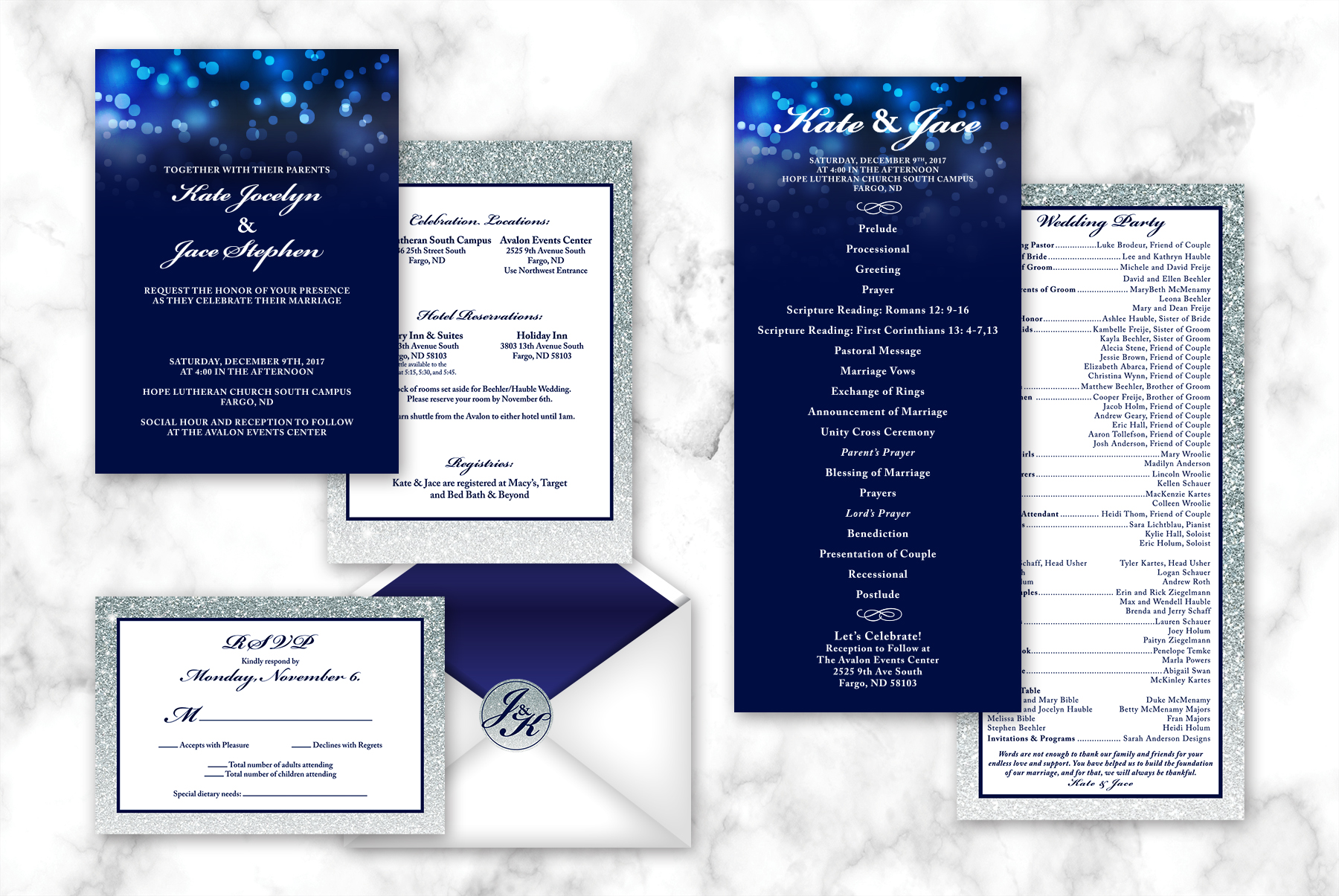 Kate & Jace Wedding Stationery   Navy and grey wedding stationery that is classic, understated and simple with a touch of sparkle. The design allows the colors and visual textures to shine. Package consisted of: Invitation, RSVP Card, Closure Sticker and Program.  Read more about this project here.