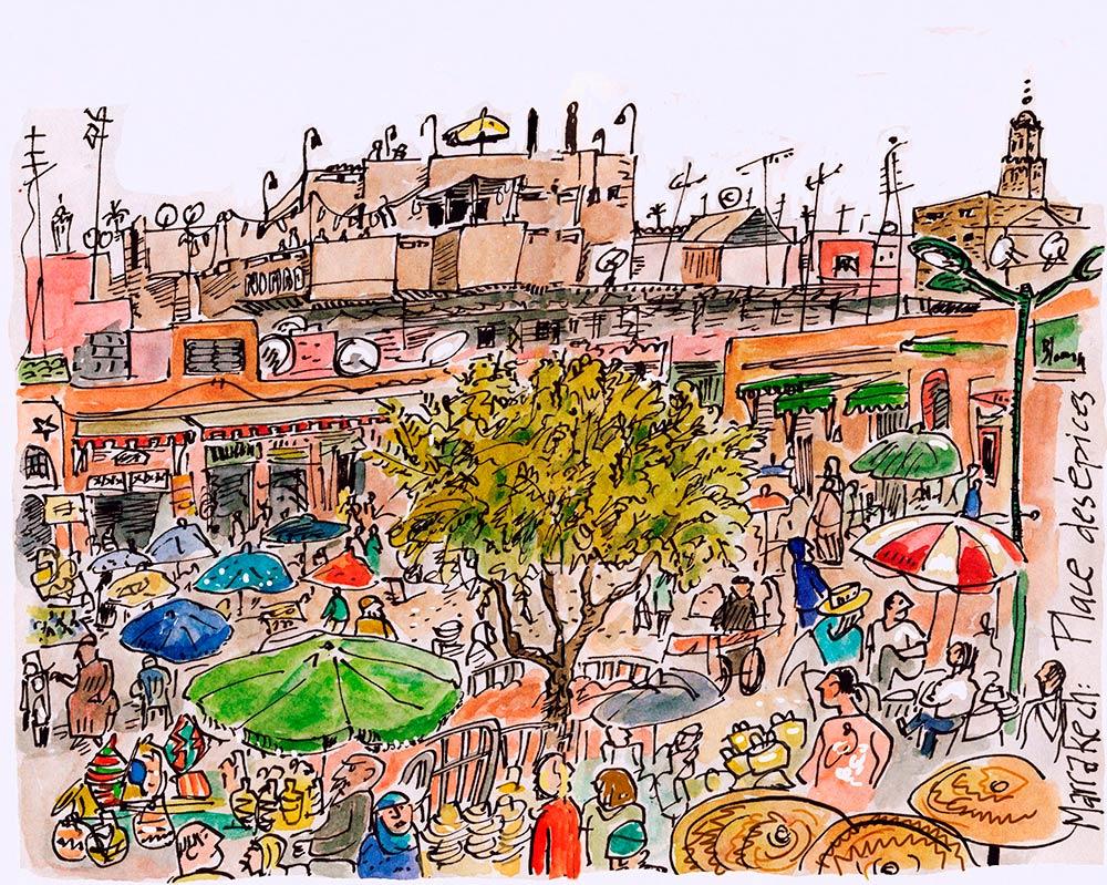 marrakech urban sketching