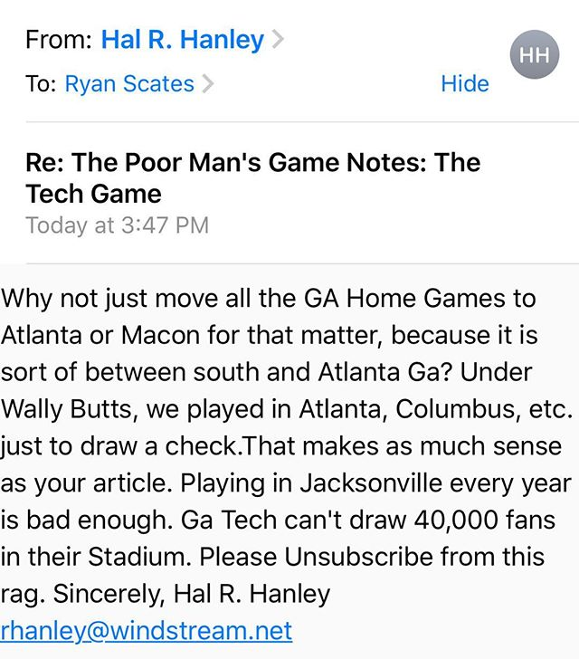 Unsubscribe button is at the bottom hoss. #GoDawgs