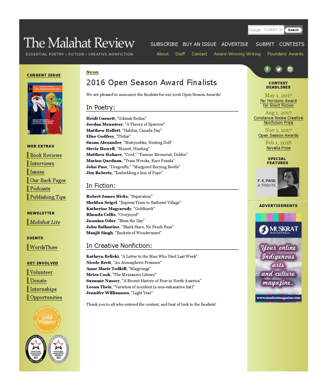 The Malahat Review, 2016