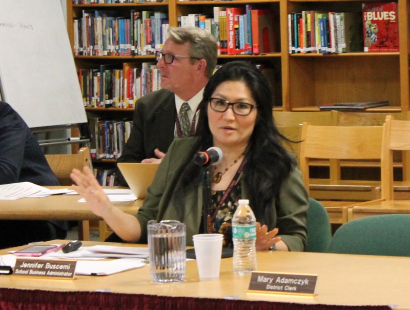 Sag Harbor school business administrator Jennifer Buscemi during a recent presentation on the school budget. Christine Sampson photo