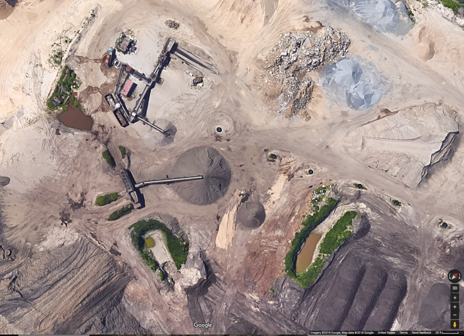 This photo of the Sand Land Mine showing 3 pools of runoff was taken from Google satellite on March 4, 2018.